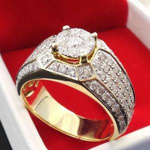 Other - 14kGP Crystal CZ Men's Bling Hip Hop Ring Size 8